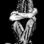 Sedící schoulený chlapec - černobílá kresba