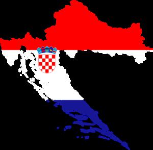 Mapa Chorvatska v barvách vlajky