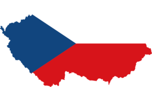 Mapa ČR v barvách vlajky