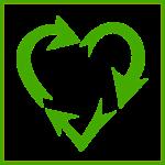 Zelené srdce složené ze třech šipek