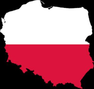 Mapa Polska v barvách vlajky