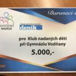 Šek pro KLub nadaných dětí při Gymnáziu Vodňany ve výši 5.000Kč