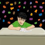 žák píšící test